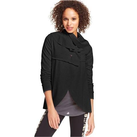 Kensie Womens Draped Ponte Jacket, black, X-Small
