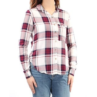 Womens Maroon Purple Plaid Cuffed Collared Casual Button Up Top Size M