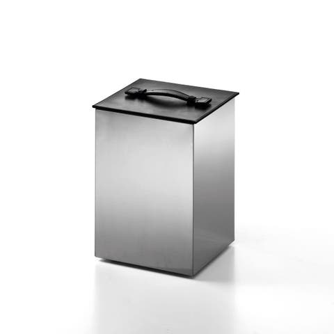 "WS Bath Collections Secioni 53431.60 8.9"" x 12.2"" Waste Basket with Leather Lid from the Complements Collection"