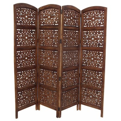 The Urban Port Foldable 4 Panel Mango Wood Room Divider, Brown