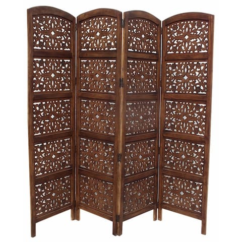 The Urban Port Foldable 4 Panel Mango Wood Room Divider, Brown