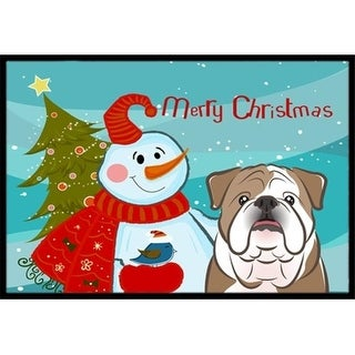 Carolines Treasures BB1839JMAT Snowman With English Bulldog Indoor & Outdoor Mat 24 x 36 in.