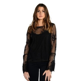 Vince Camuto Bell Sleeve Mesh Border Lace Blouse In Black