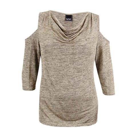 MSK Women's Plus Size Draped Glitter Cold-Shoulder Blouse - Sand/Gold