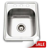 "Houzer A1722-7BS Club 13-5/8"" Single Basin Drop-In 18-Gauge Stainless Steel Bar Sink with Sound Dampening Technology"