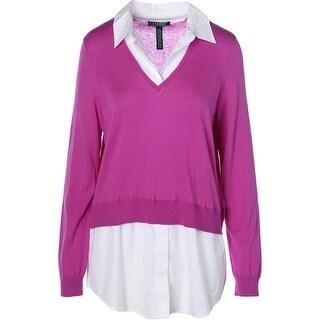 Lauren Ralph Lauren Womens Knit 2Fer Pullover Sweater