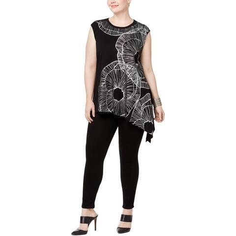 Anne Klein Womens Plus Sweater Vest Asymmetric Printed - 3X