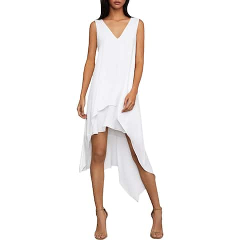 BCBG Max Azria Womens Kaira Midi Dress Asymmetrical V-Neck