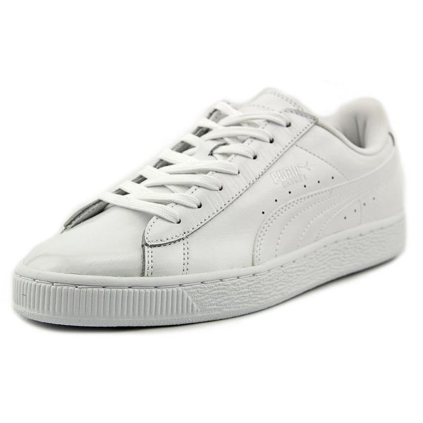 Puma Basket Classic Croc Men Round Toe Leather White Sneakers