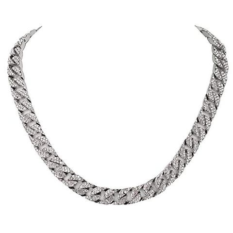 Charles Raymond Iced Out Hip Hop CZ Miami Cuban Link or Tennis Chain Choker Necklaces- Cuban