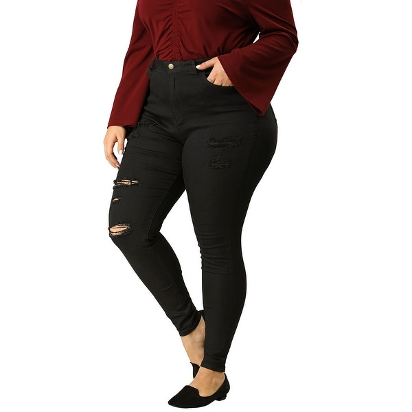 Women's Plus Size Zip Fly Mid Rise Skinny Ripped Jeans. Opens flyout.