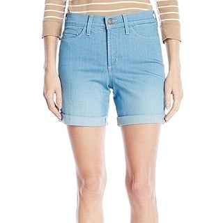 NYDJ NEW Blue Palm Women's Size 8 Cuffed Tummy Control Denim Shorts