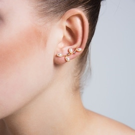 Amorium Pearl Ear Climber with Cubic Zirconia