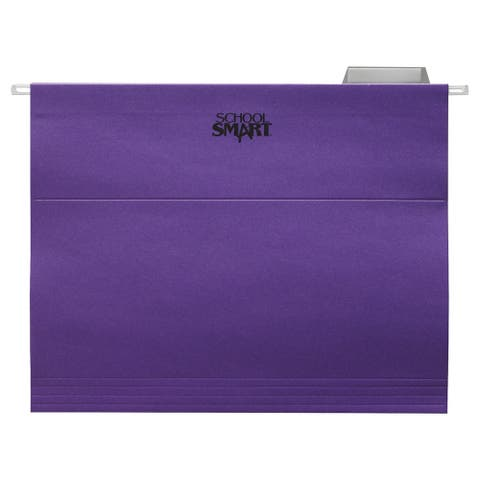 School Smart Hanging File Folder, Letter, Purple, 1/5 Cut Tabs, Pack of 25