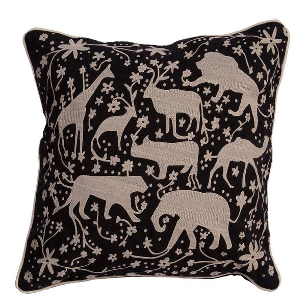 "20"" Raven Black and Stone Gray Multiple Animal DecorativeThrow Pillow"