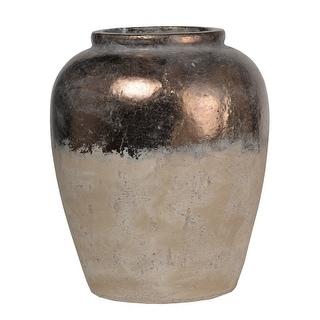 Distressed Ceramic Vase With Round Opening, Sienna Brown