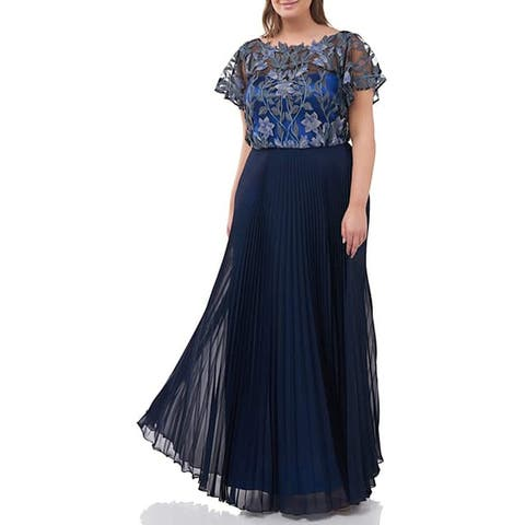 JS Collections Women's Dress Blue Size 12 Floral Pleated Skirt Gown