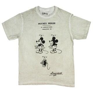 Disney Men's Mickey Mouse T-Shirt Patent Diagram Cartoon American Classic