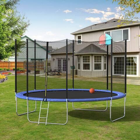 12FT Round Trampoline with Safety Enclosure Net &Ladder