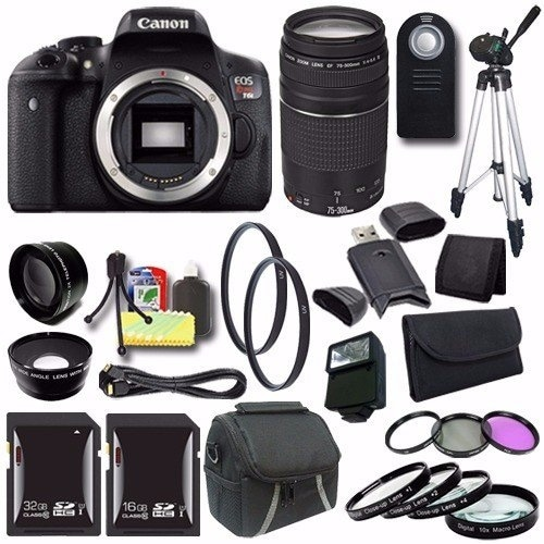 Canon EOS Rebel T6i DSLR Camera (Body Only) 0591C001 + EF 75-300mm Lens + 32GB SDHC Card + External Flash + Saver Bundle