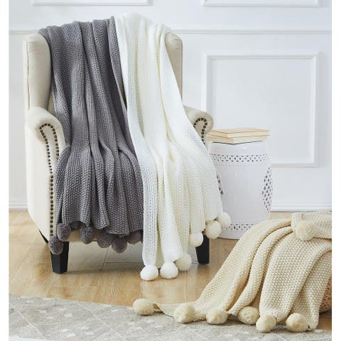 Modern Threads Knitted Bed Sofa Throw With Pom Poms