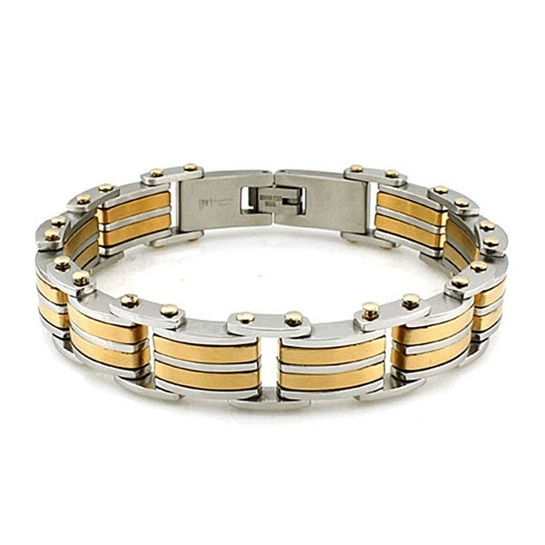 Men's Two-tone Stainless Steel Link Bracelet with Gold Accents (15mm Wide) - 8.5 Inches