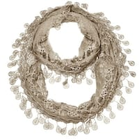 "Women's Sheer Lace Scarf With Teardrops Fringe - Taupe - 62"" x 12"""