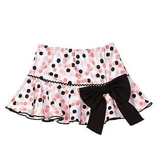 Azul Little Girls Black Pink Polka Dot Bow Accent Save My Spot Skirt