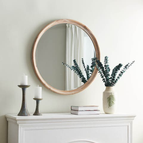 Grand Whitewash Round Wall Mirror - White Washed - One Size