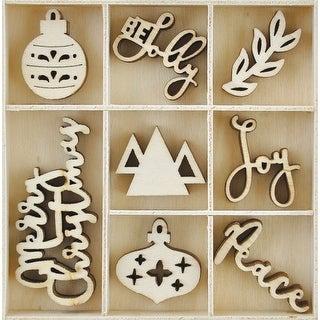 Themed Mini Wooden Flourishes 40/Pkg-Jolly Christmas - jolly christmas