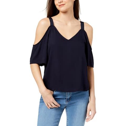 Calvin Klein Jeans Womens Pullover Top Cold Shoulder V-Neck