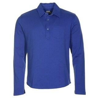Hardy Amies Long Sleeve Cotton Polo Shirt Cobalt Blue Medium M