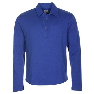 Hardy Amies Long Sleeve Cotton Polo Shirt Royal Blue Large L