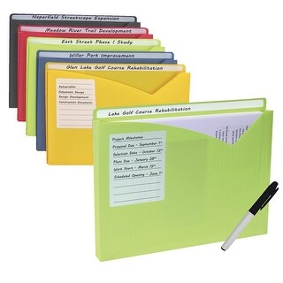 C-Line Write-On Poly File Jackets, Assorted, 11 x 8-1/2 Inches, Pack of 25
