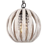 Antique White 1-Light Crystal Distressed Wood Orb Chandelier