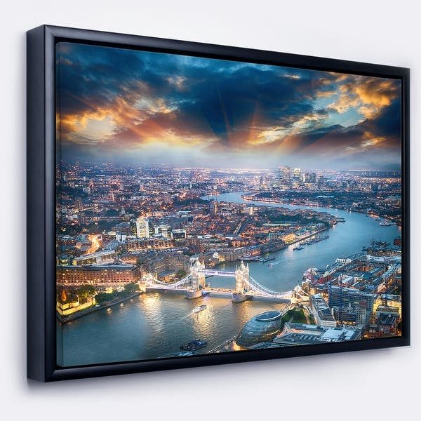 Designart Aerial View Of London At Dusk Cityscape Photo Framed Canvas Print Overstock 18953313