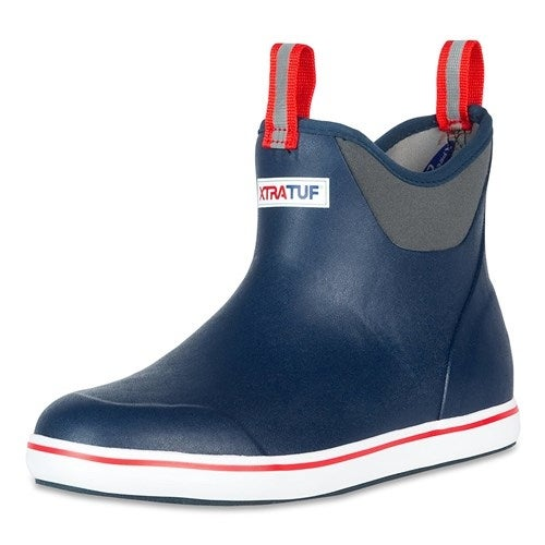 "Xtratuf Men's 6"" Navy Ankle Deck Boots w/ Full Rubber Construction - Size 9"