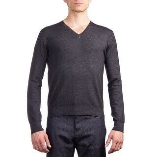 Prada Men's Virgin Wool V-Neck Sweater Charcoal Grey