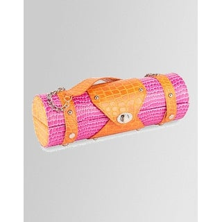 "13.25"" Fashion Avenue Stylish Pink & Orange Crocodile Pattern Wine Bottle Purse"