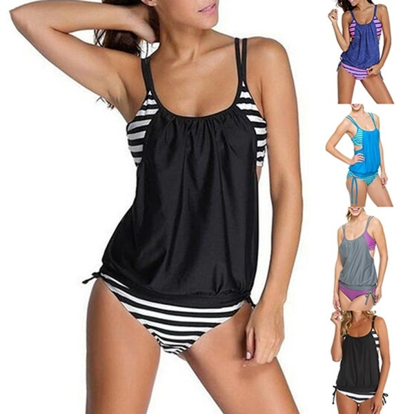 a2fc606e0ee2 Women Summer Beach Stripes Tankini Swimwear Bathing Suit Two-Piece Swimsuit