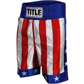 "Title Boxing American Flag 4"" Waistband Satin Boxing Trunks - USA (4 options available)"