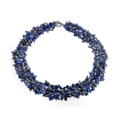 Chips Cluster Bib Multi Strand Statement Necklace Silver Plated
