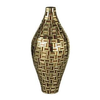 "15.75"" Gold and Bronze Ravenna Decorative Hand Blown Glass Tall Vase"