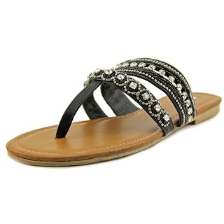 Mia Candance Women Open Toe Synthetic Black Thong Sandal