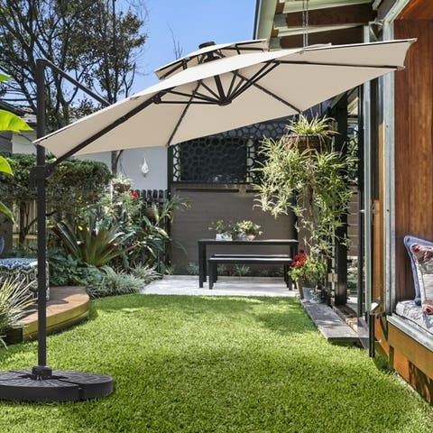 Ainfox 11ft 2 Tier Offset Hanging Patio Solar-Powered Umbrella, Base Not Included