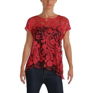 Karen Kane Womens Casual Top Lace Handkerchief Hem