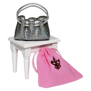 Silver Glitter Designer Shoulder Handbag Purse Fits 18 Inch American Girl Doll Clothes Accessories