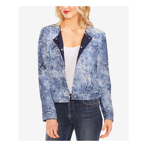 VINCE CAMUTO Womens Blue Sequined Printed Bomber Jacket Size M