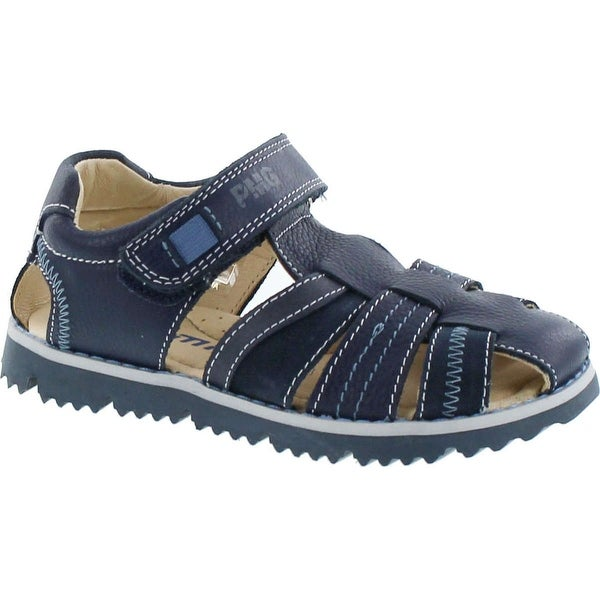 Primigi Boys 7128 European Leather Fisherman Sandals With Closed Toe And Back - Blue