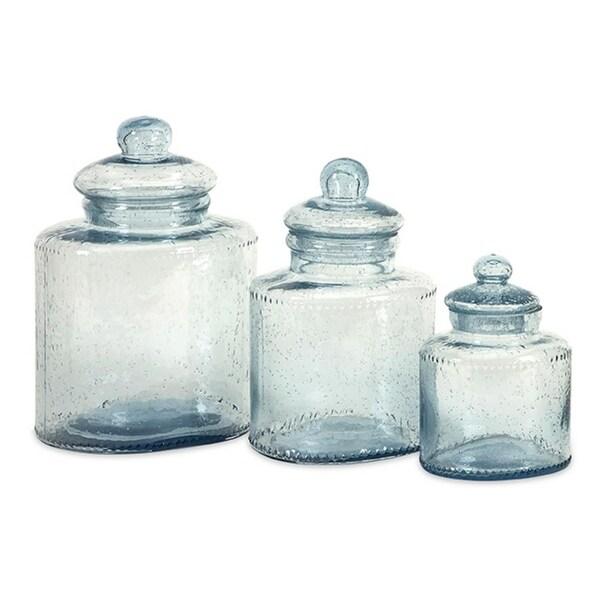 Superbe Set Of 3 Celina Pale Blue Bubbled Glass Lidded Kitchen Canisters